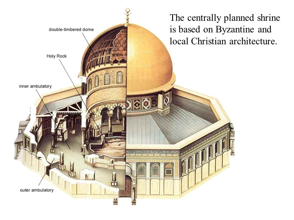 The centrally planned shrine is based on Byzantine and local Christian architecture.