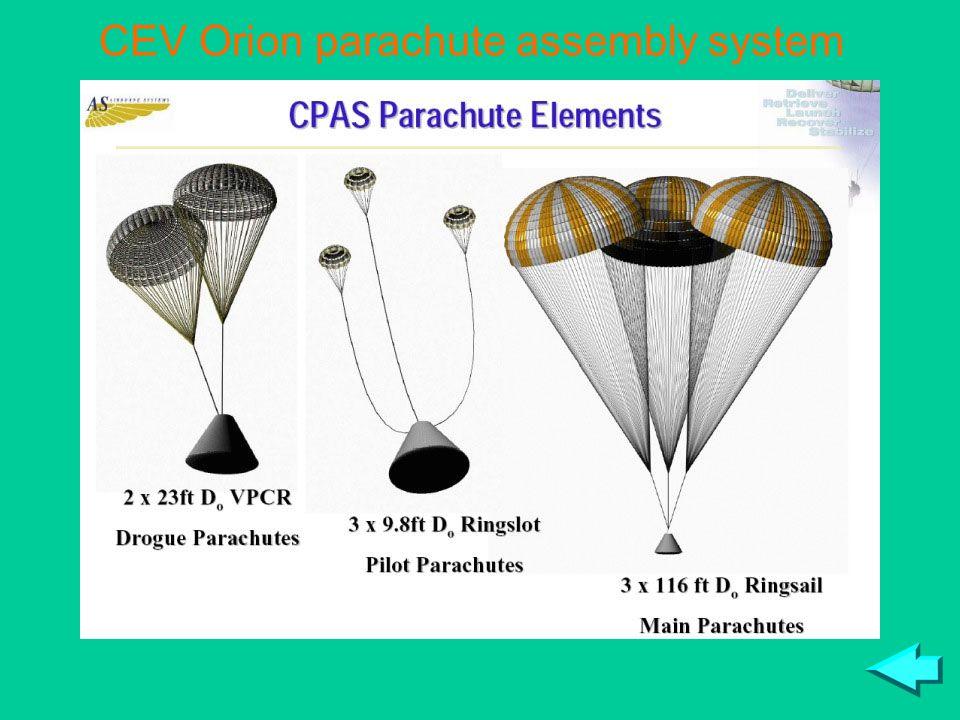 CEV Orion parachute assembly system