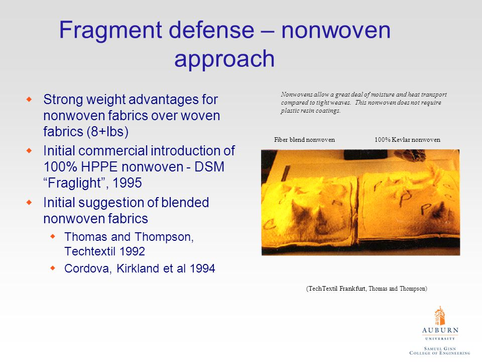 Fragment defense – nonwoven approach