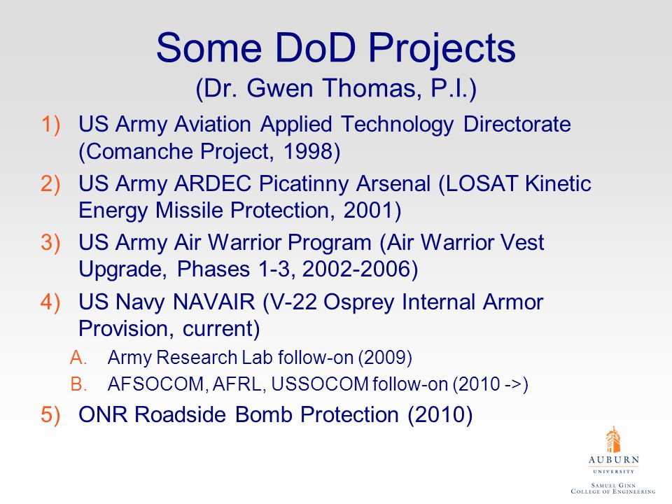 Some DoD Projects (Dr. Gwen Thomas, P.I.)