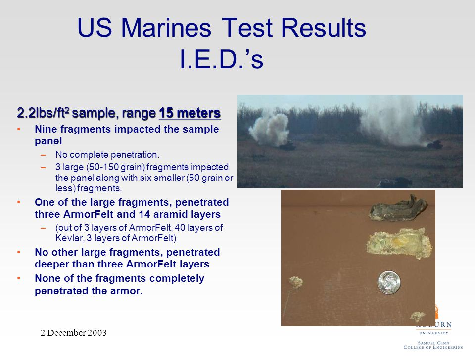 US Marines Test Results I.E.D.'s