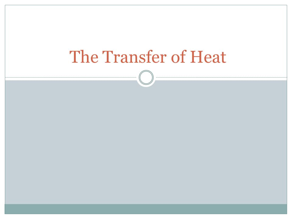 The Transfer of Heat