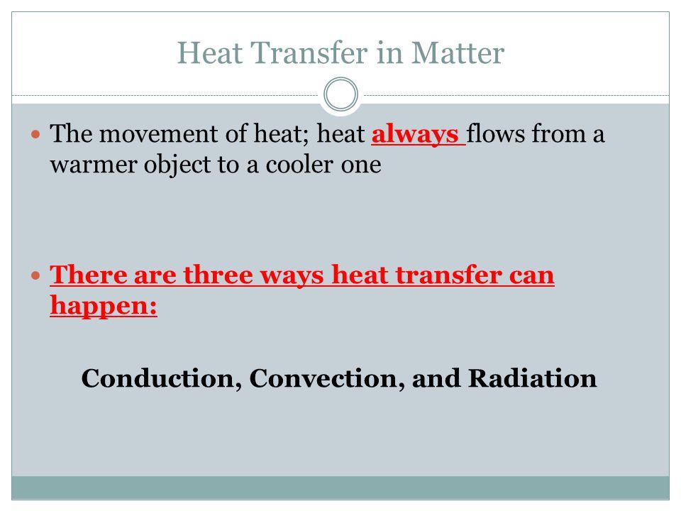 Heat Transfer in Matter