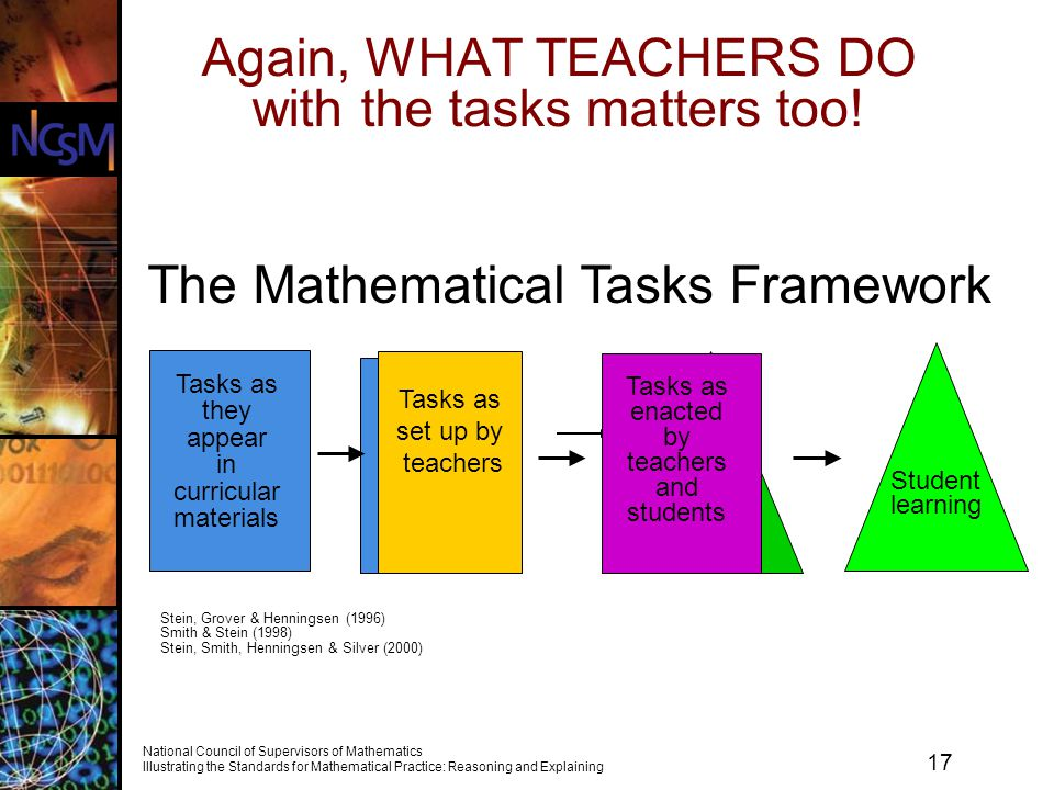 Again, WHAT TEACHERS DO with the tasks matters too!