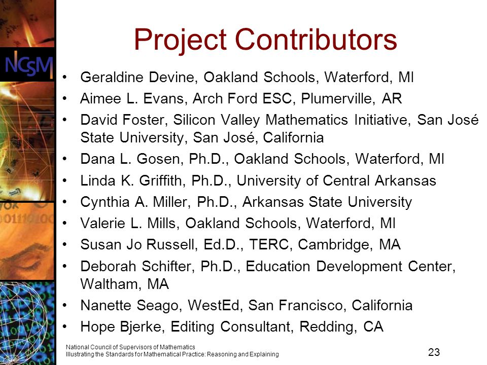 Project Contributors Geraldine Devine, Oakland Schools, Waterford, MI