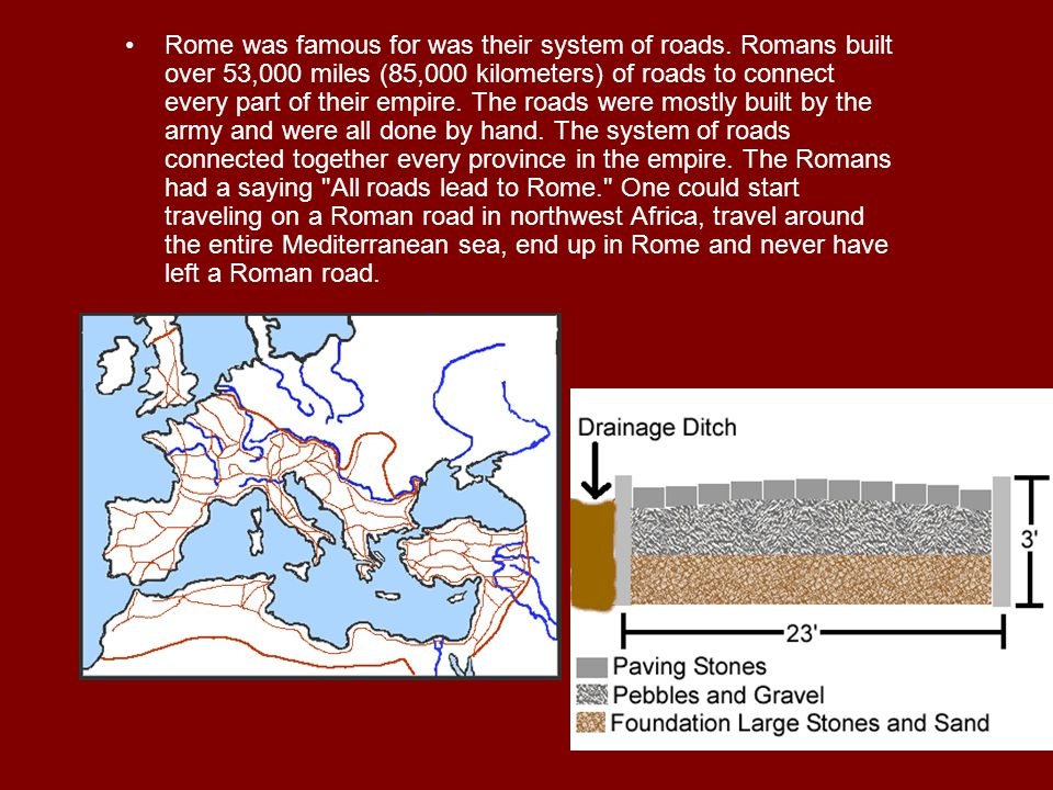 Rome was famous for was their system of roads