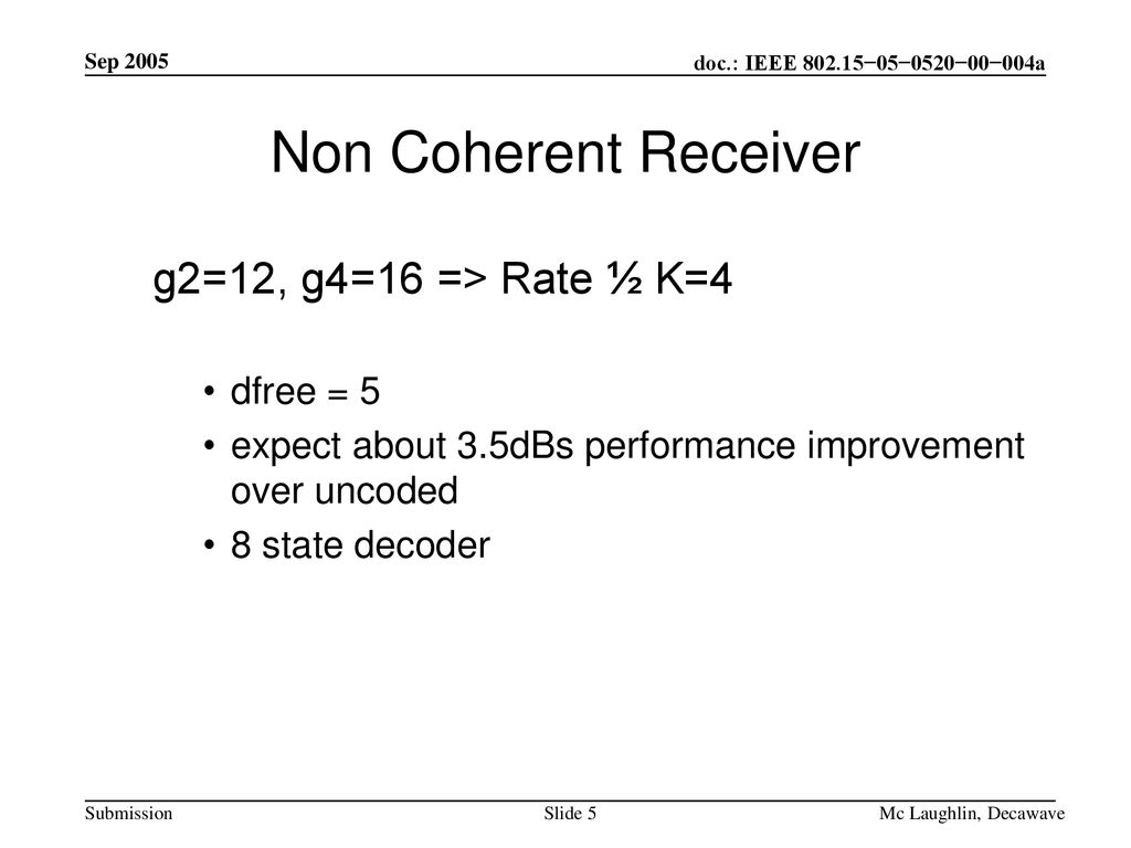 Non Coherent Receiver g2=12, g4=16 => Rate ½ K=4 dfree = 5