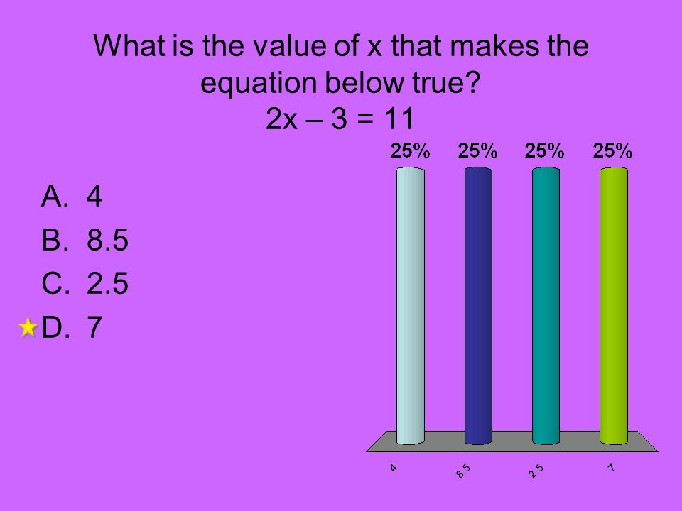 What is the value of x that makes the equation below true 2x – 3 = 11