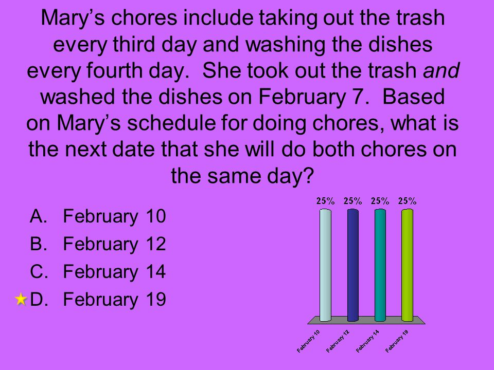 Mary's chores include taking out the trash every third day and washing the dishes every fourth day. She took out the trash and washed the dishes on February 7. Based on Mary's schedule for doing chores, what is the next date that she will do both chores on the same day