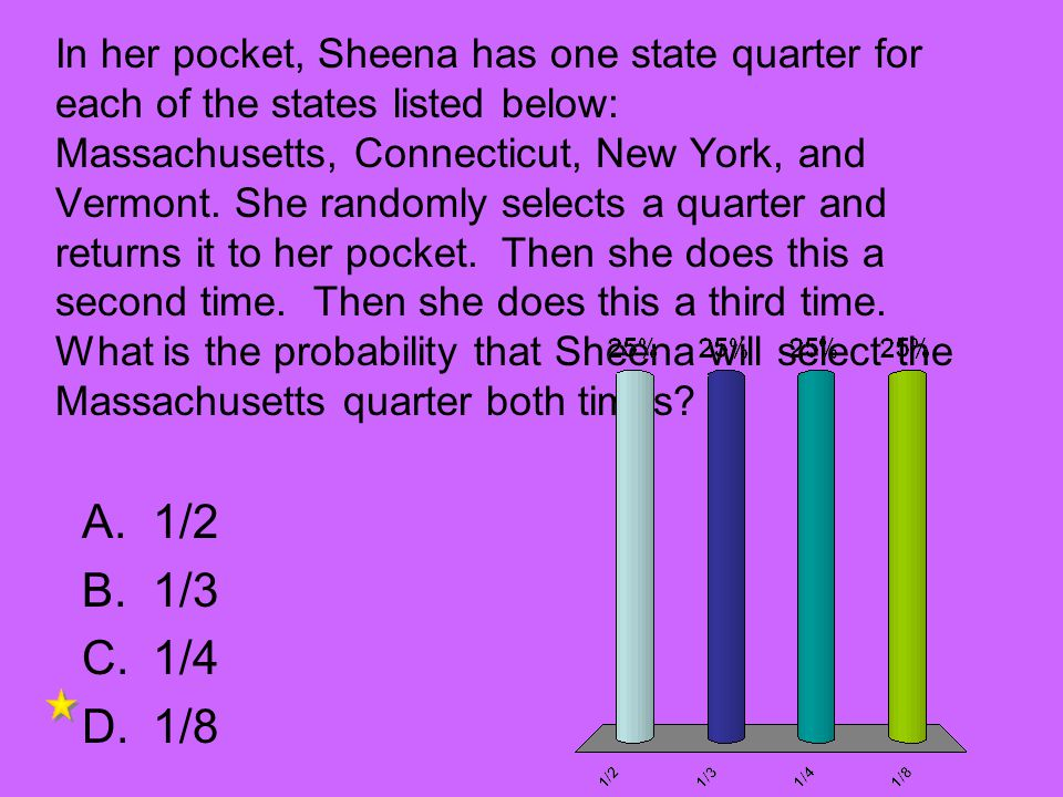 In her pocket, Sheena has one state quarter for each of the states listed below: Massachusetts, Connecticut, New York, and Vermont. She randomly selects a quarter and returns it to her pocket. Then she does this a second time. Then she does this a third time. What is the probability that Sheena will select the Massachusetts quarter both times