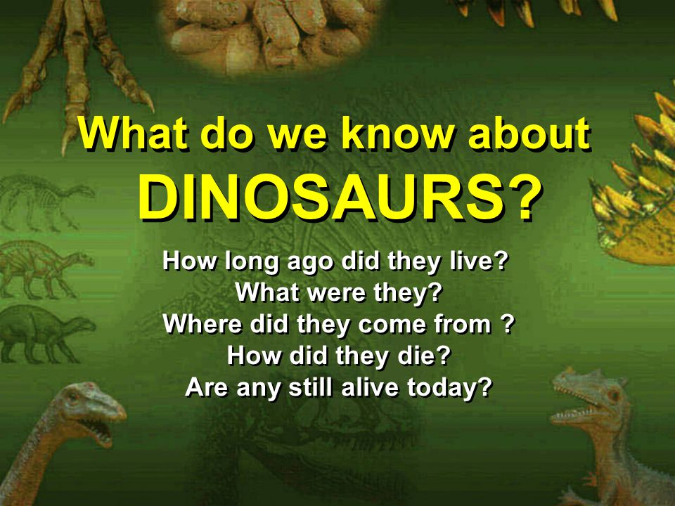 DINOSAURS What do we know about How long ago did they live