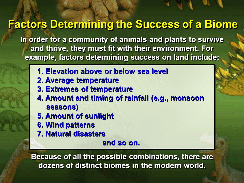 Factors Determining the Success of a Biome