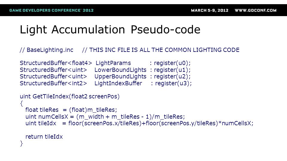 Light Accumulation Pseudo-code