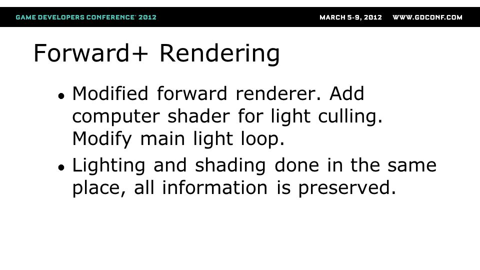 Forward+ Rendering Modified forward renderer. Add computer shader for light culling. Modify main light loop.