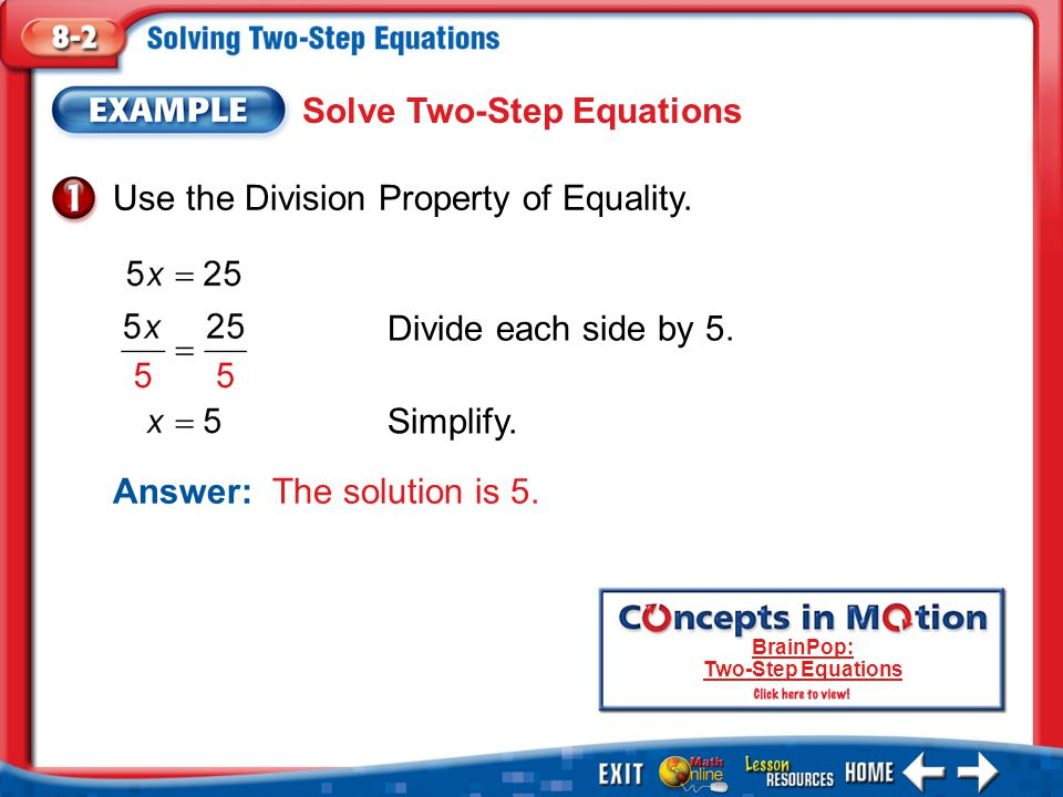 BrainPop: Two-Step Equations