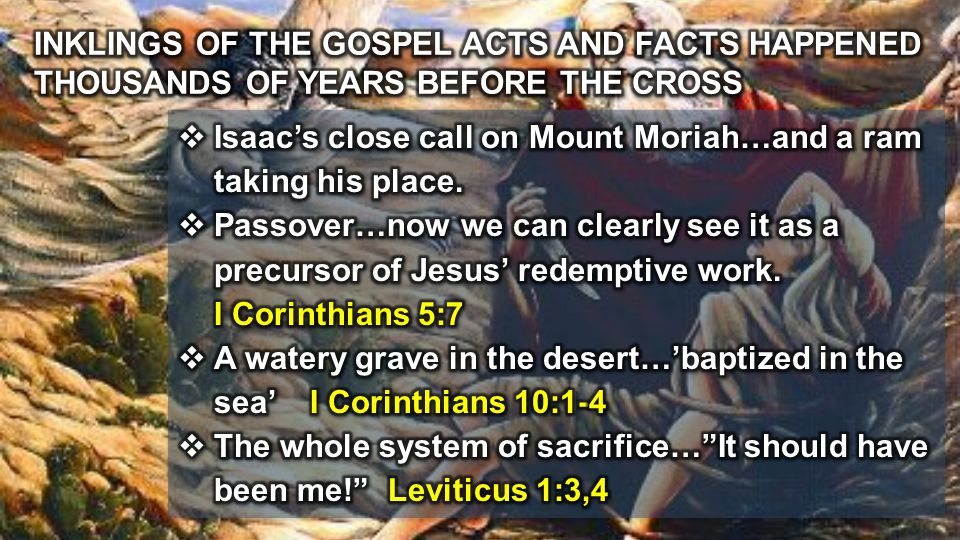 INKLINGS OF THE GOSPEL ACTS AND FACTS HAPPENED THOUSANDS OF YEARS BEFORE THE CROSS
