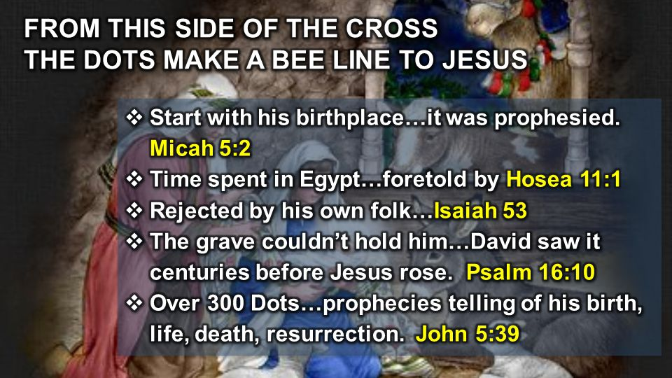 FROM THIS SIDE OF THE CROSS THE DOTS MAKE A BEE LINE TO JESUS