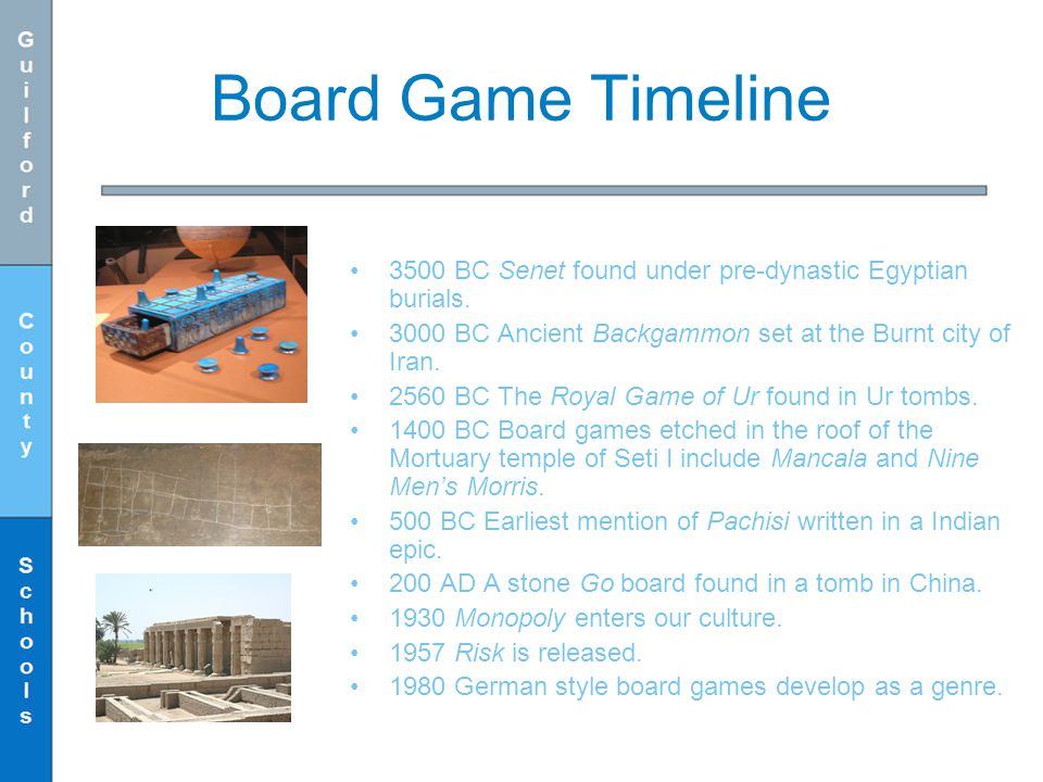 Board Game Timeline 3500 BC Senet found under pre-dynastic Egyptian burials. 3000 BC Ancient Backgammon set at the Burnt city of Iran.