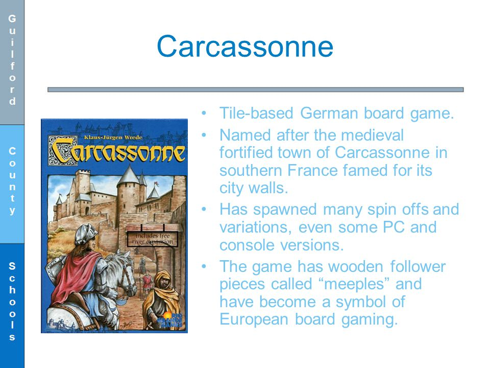 Carcassonne Tile-based German board game.