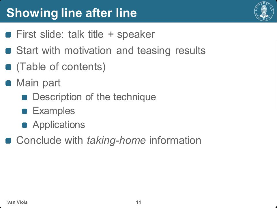 Showing line after line