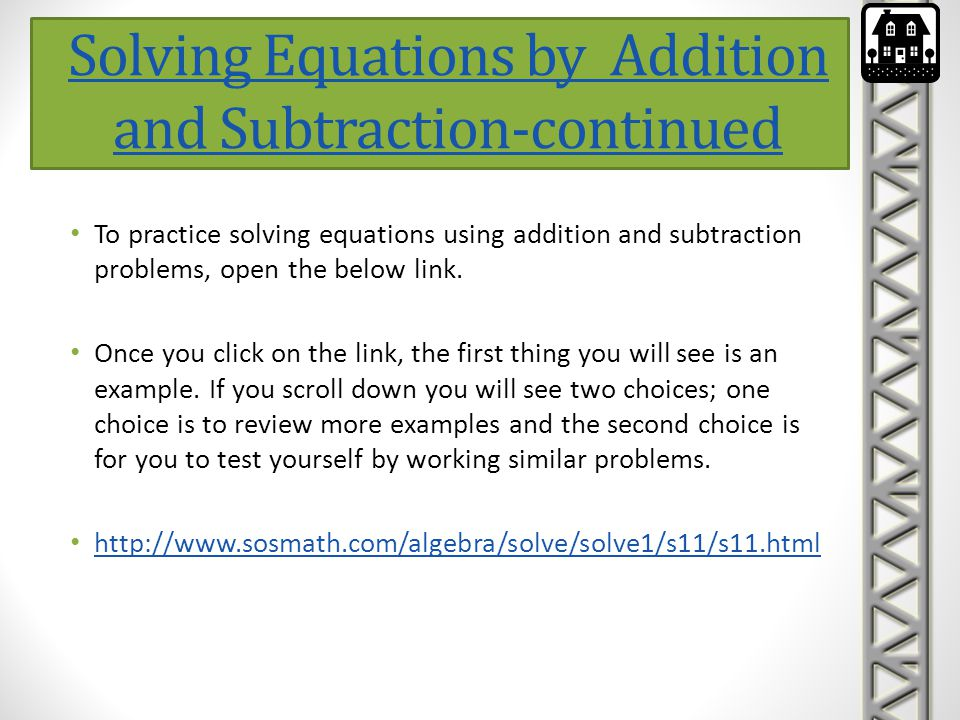 Solving Equations by Addition and Subtraction-continued