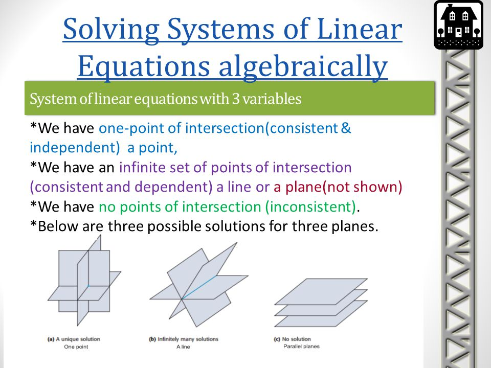 System of linear equations with 3 variables