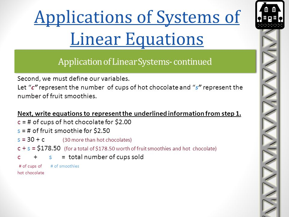 Application of Linear Systems- continued