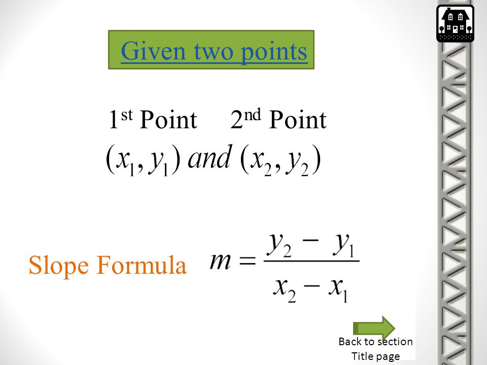 Given two points 1st Point 2nd Point Slope Formula Back to section
