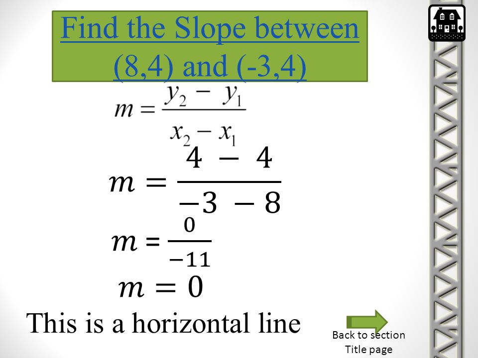 Find the Slope between (8,4) and (-3,4) 𝑚= 4 − 4 −3 −8 𝑚 = 0 −11 𝑚=0