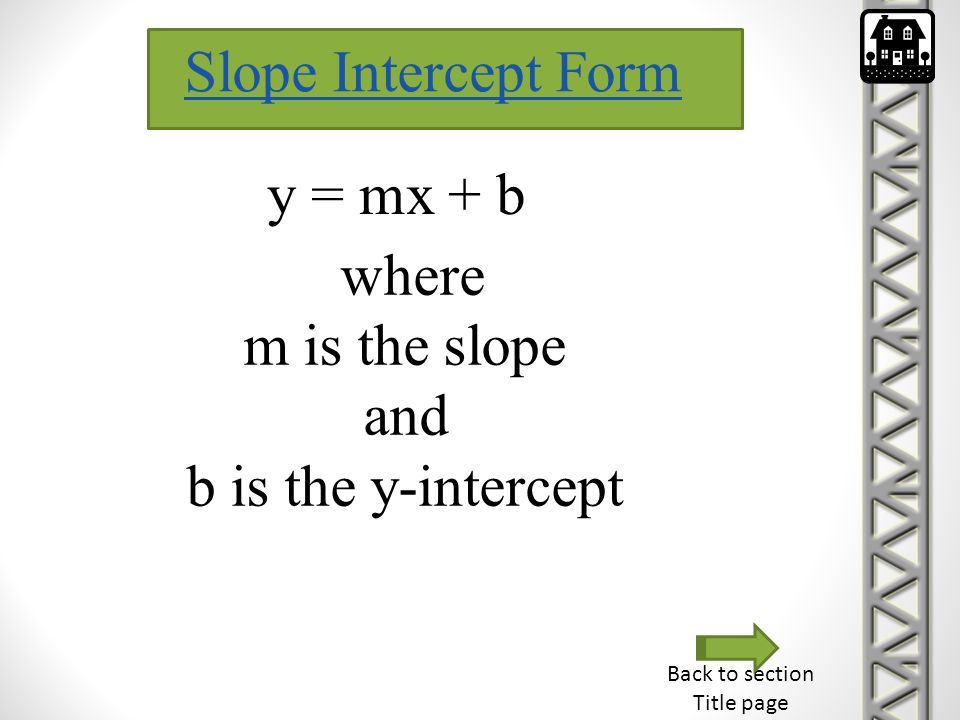 Slope Intercept Form y = mx + b where m is the slope and