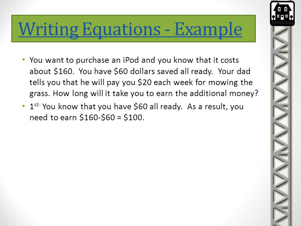 Writing Equations - Example
