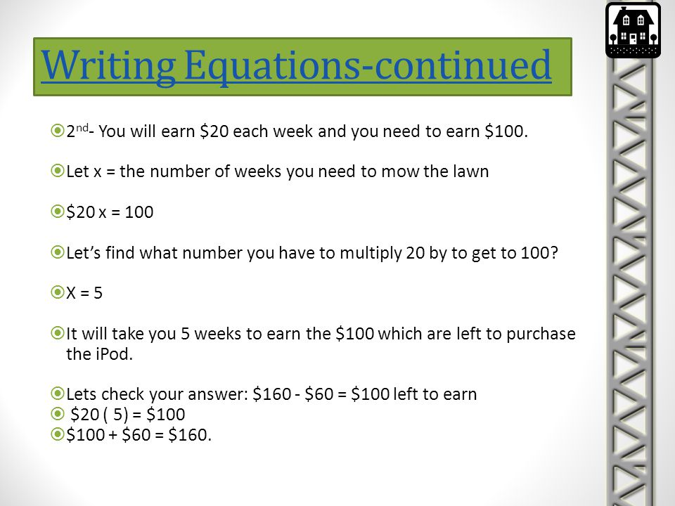 Writing Equations-continued