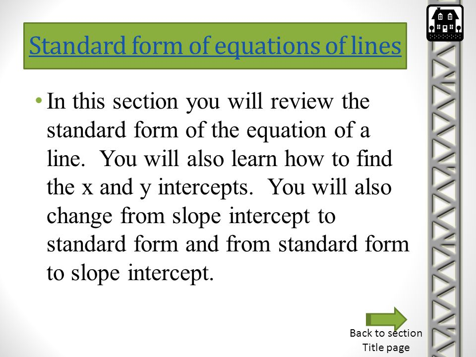 Standard form of equations of lines