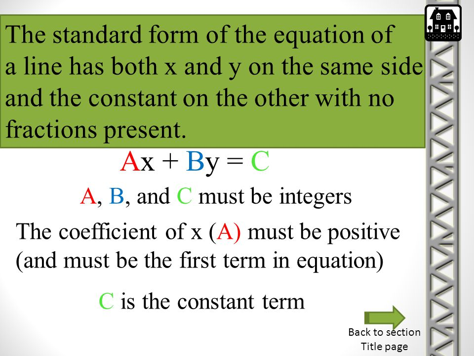 Ax + By = C The standard form of the equation of