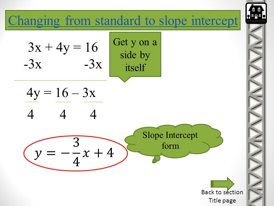 Changing from standard to slope intercept