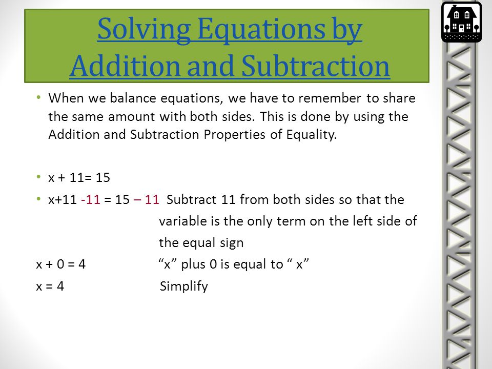 Solving Equations by Addition and Subtraction
