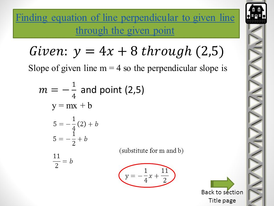 Finding equation of line perpendicular to given line through the given point