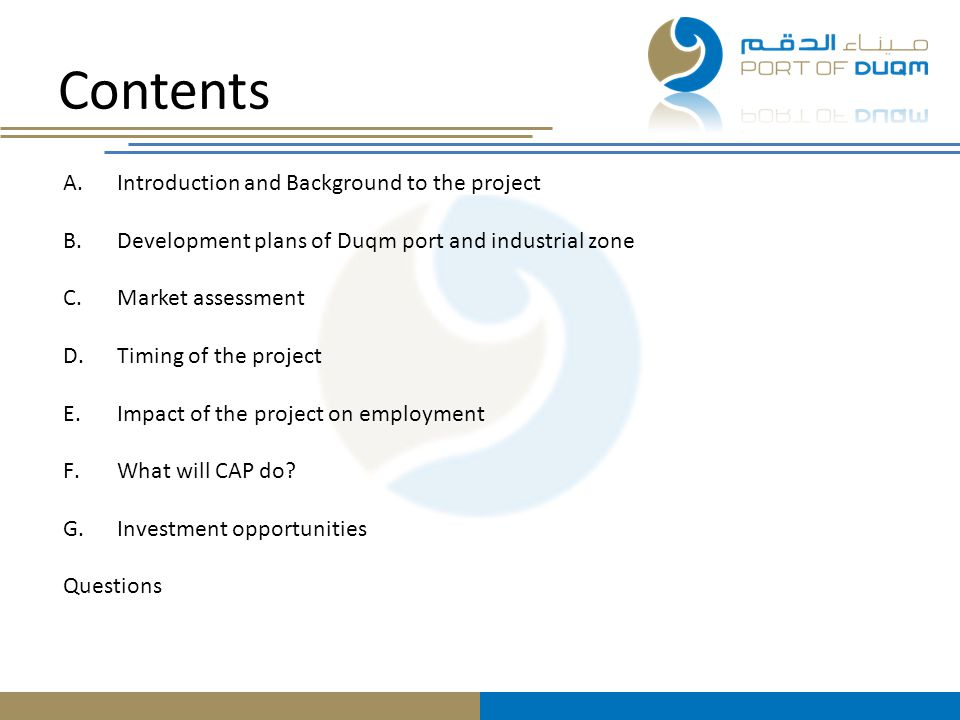 Contents Introduction and Background to the project