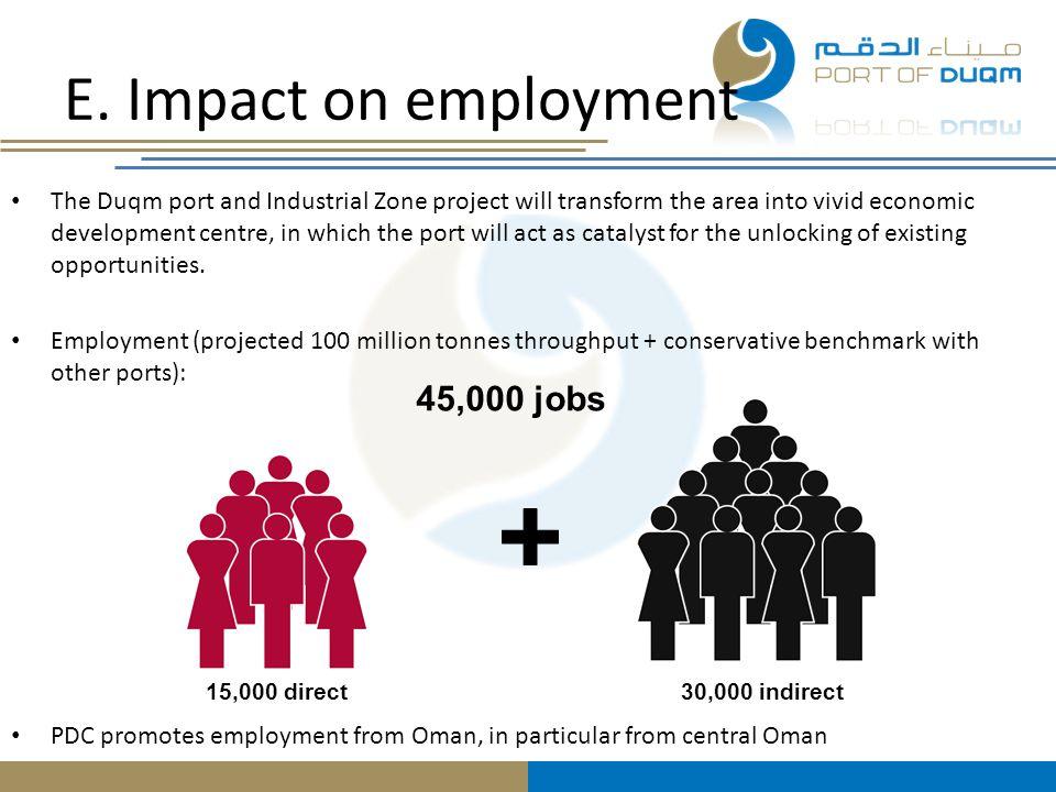 E. Impact on employment 45,000 jobs