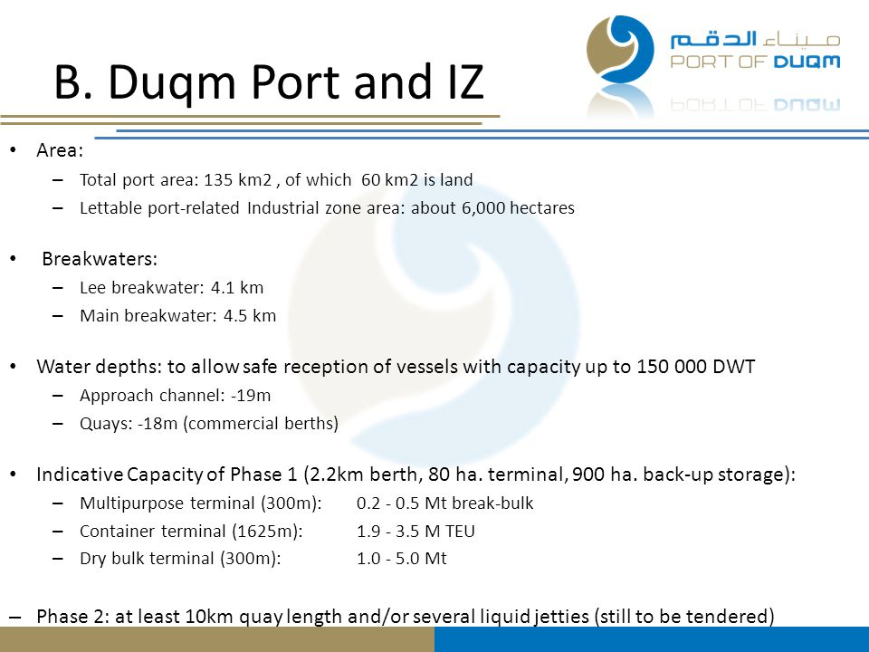 B. Duqm Port and IZ Area: Breakwaters: