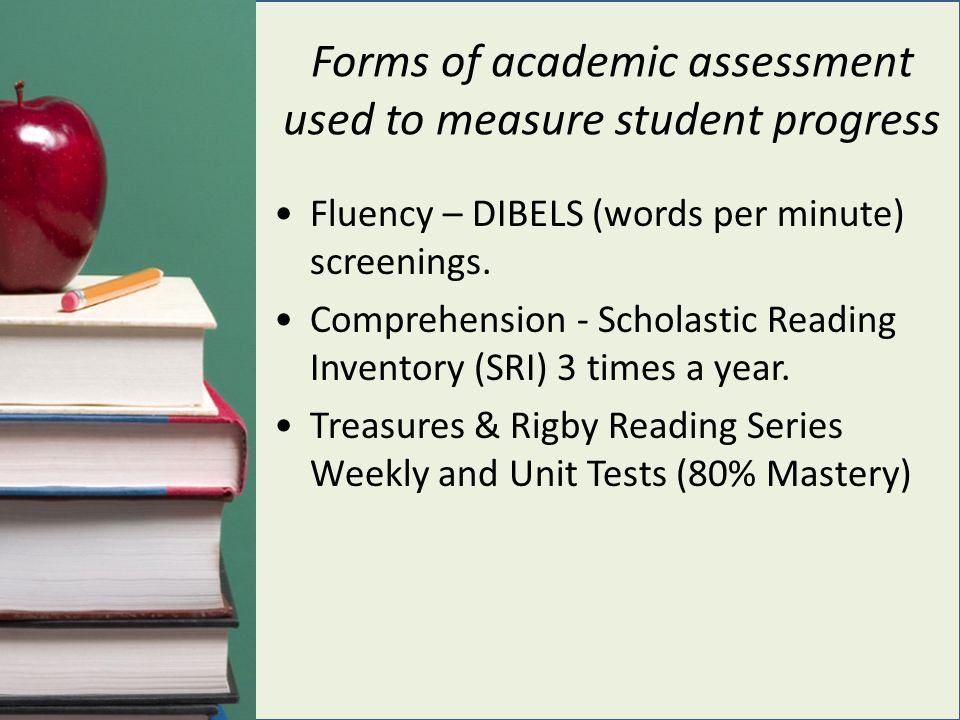 Forms of academic assessment used to measure student progress