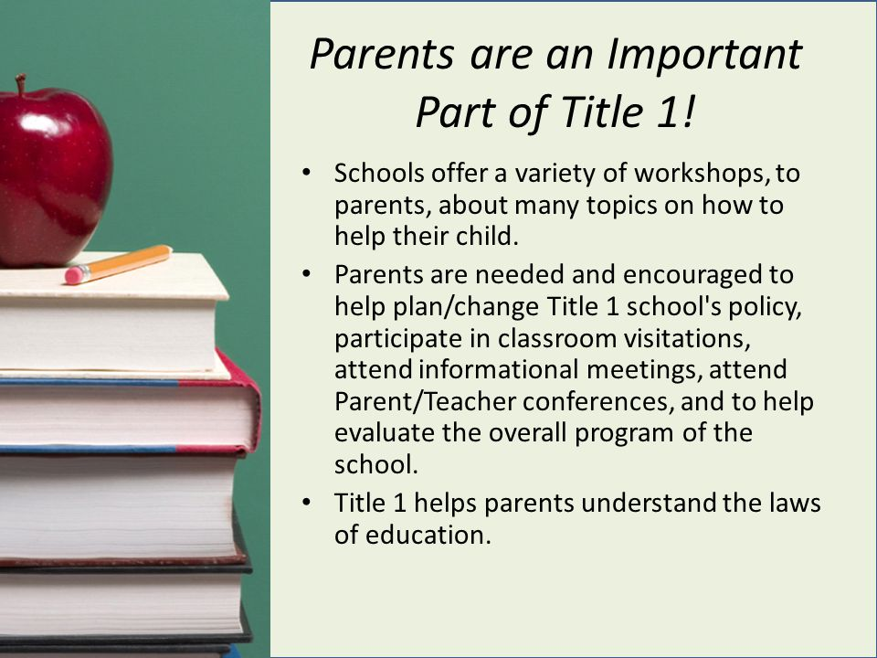 Parents are an Important Part of Title 1!