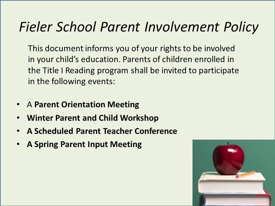 Fieler School Parent Involvement Policy