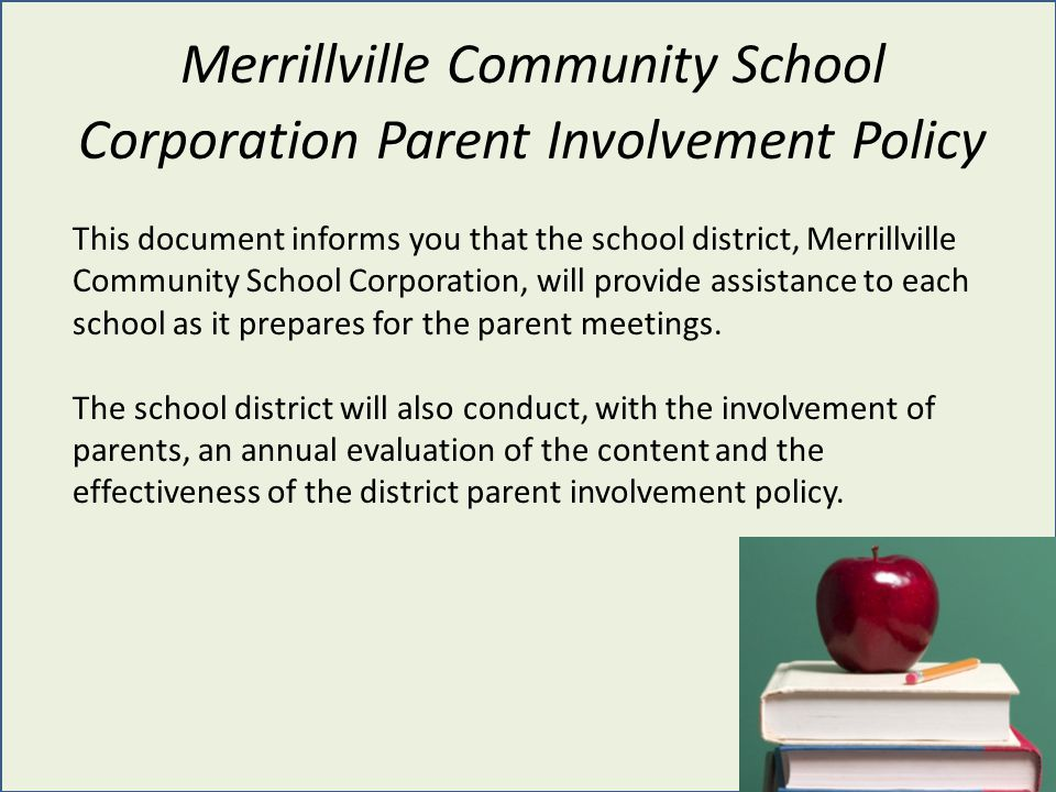 Merrillville Community School Corporation Parent Involvement Policy