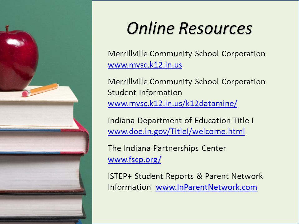 Online Resources Merrillville Community School Corporation www.mvsc.k12.in.us.