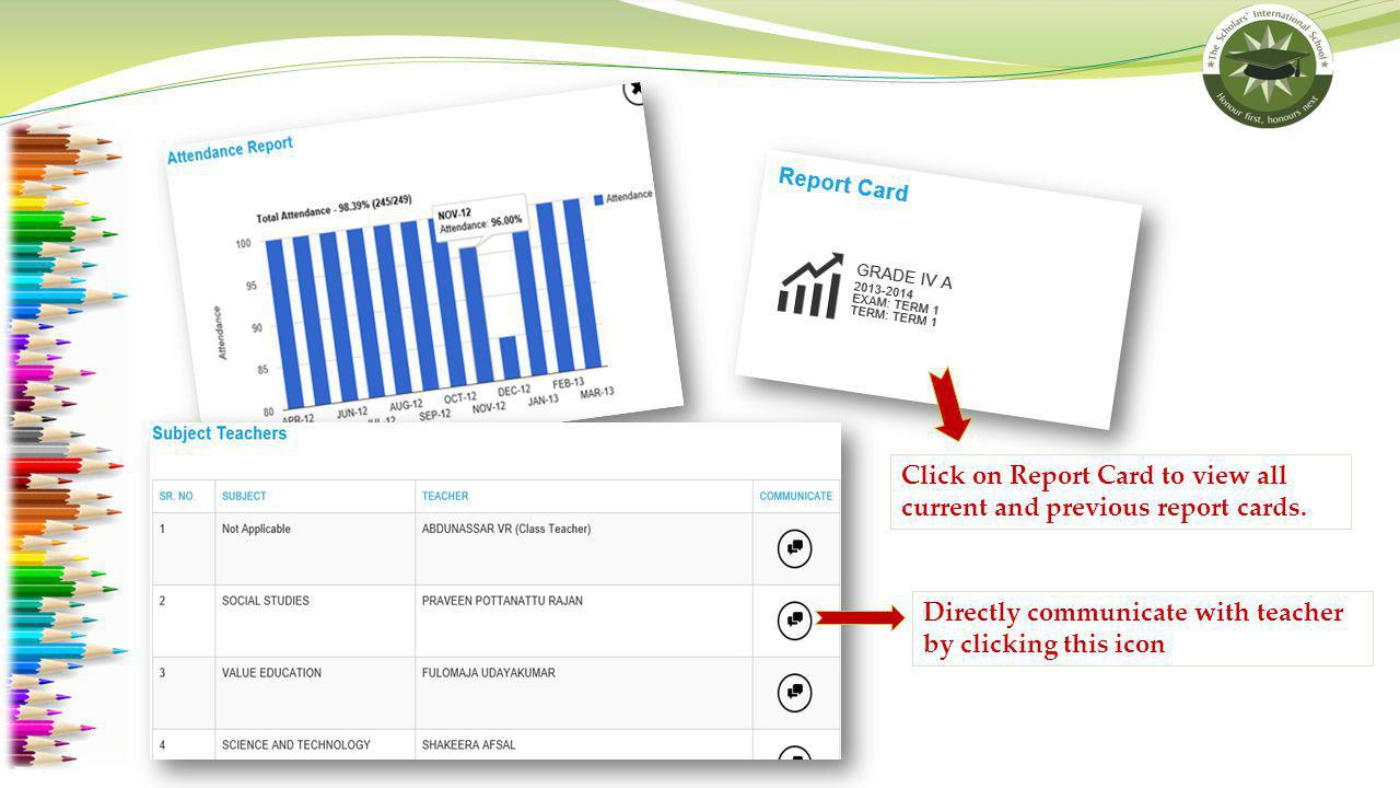 Click on Report Card to view all current and previous report cards.
