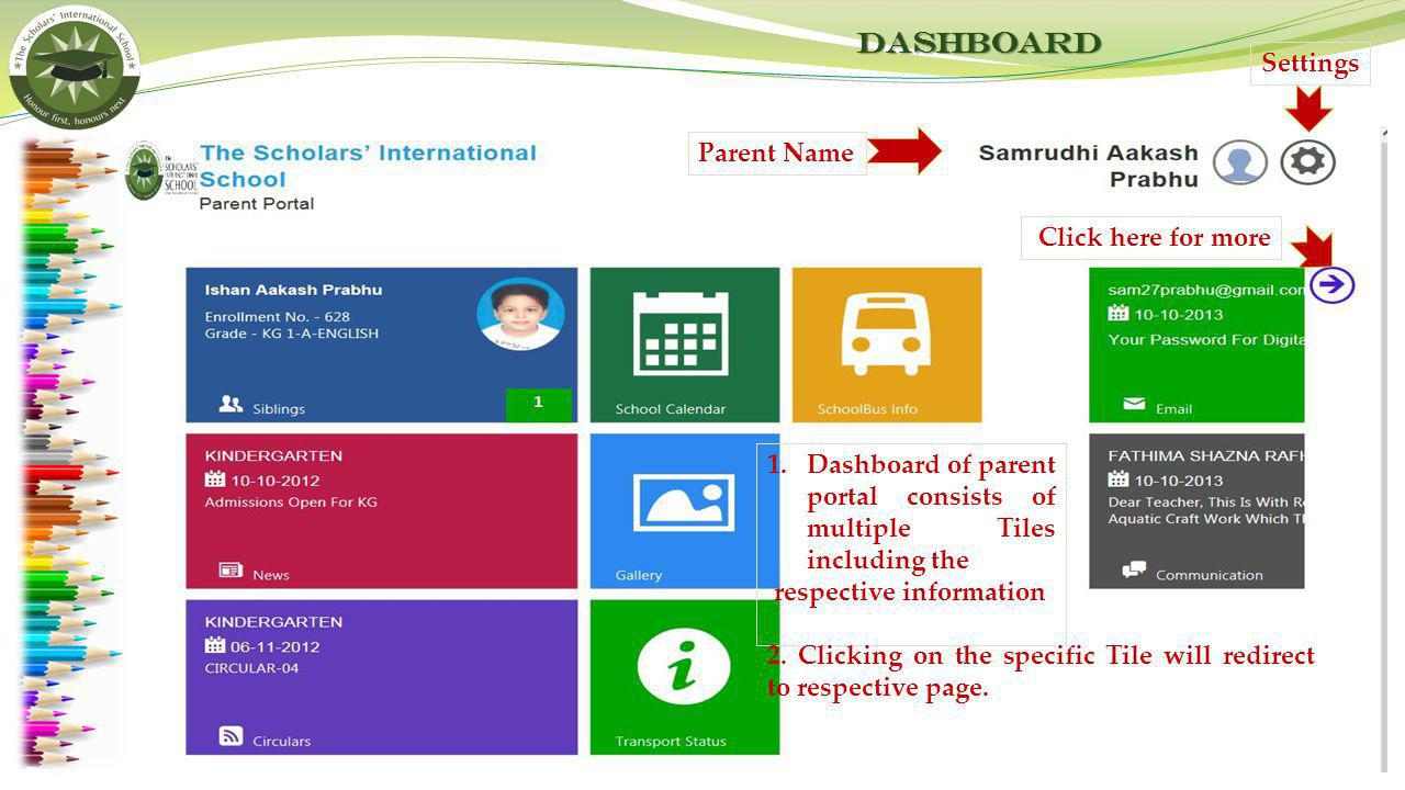Dashboard Settings Parent Name Click here for more