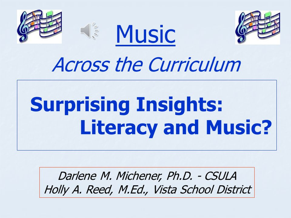 Surprising Insights: Literacy and Music