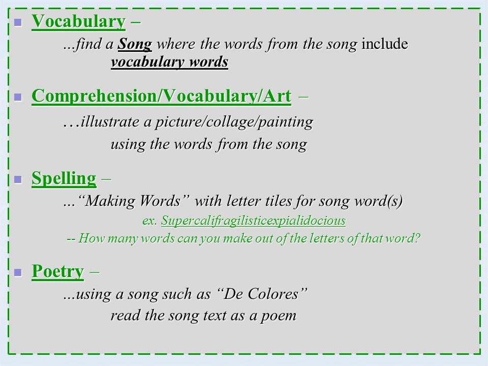 Comprehension/Vocabulary/Art – …illustrate a picture/collage/painting