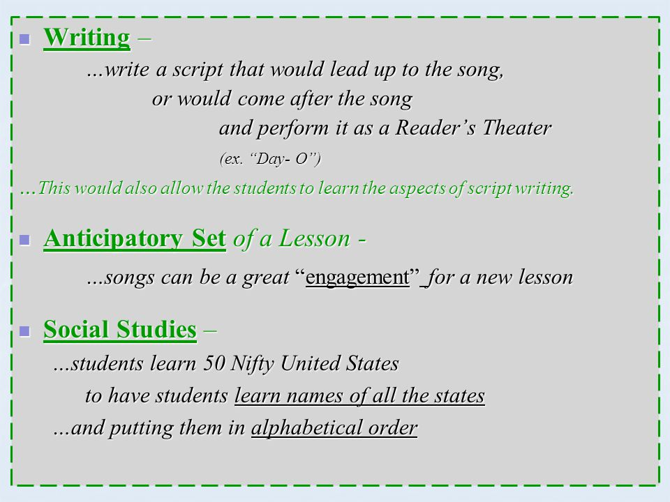 Anticipatory Set of a Lesson -